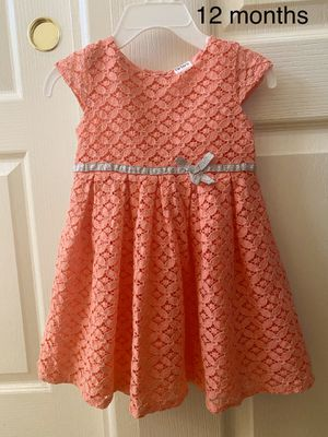 Beautiful peach baby girl dress by Carter's, size 12 months, perfect for Easter, kids clothes for Sale in Sun City, AZ