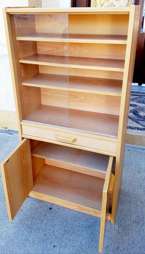 EXCELLENT CONDITION Petite China Display Bookcase Bookshelves Curio Pantry Kitcken Bath Bathroom Storage Cabinet Unit + Shelves + Drawer INCLUDED for Sale in Monterey Park, CA
