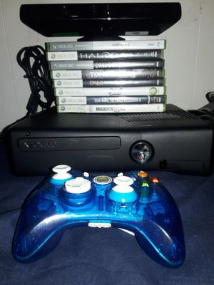 XBOX 360 SLIM CONSOLE, CONTROLLER, 8 GAMES, AND KINECT for Sale in Phoenix, AZ