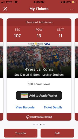 Rams at 49ers Tickets for Sale in Fresno, CA