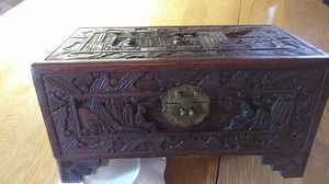 Antique chinese box camphor wood carved daily life beautiful for Sale in Clarksville, TN