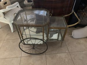Antique brass and glass tea cart for Sale in Scottsdale, AZ
