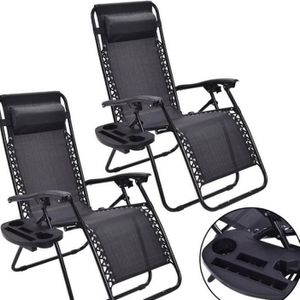 Zero Gravity Lounge Chair Recliners For Indoors, Outdoors, Patio, Pool W/ Cup Holders - in Black for Sale in Los Angeles, CA