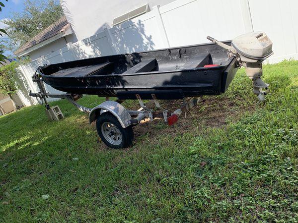 13.5 Ft Jon Boat, Trailer and Motor
