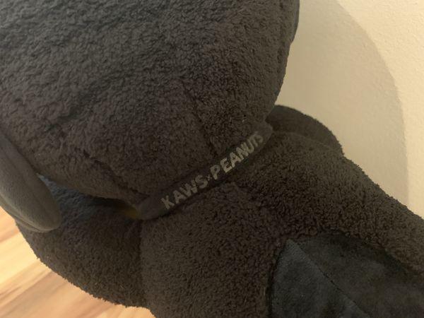 KAWS x PEANUTS x UNIQLO Toy Plush Large Black/Black XX Snoopy NEW