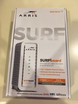 ARRIS Surfboard (8x4) DOCSIS 3.0 Cable Modem Plus AC1600 Dual Band Wi-Fi Router, 343 Mbps Max Speed, Certified for Comcast Xfinity, Spectrum, Cox & M for Sale in Indianapolis, IN