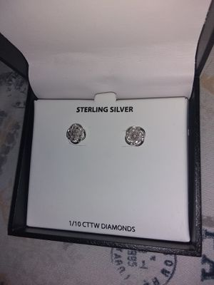 Sterling silver earrings with 1/10 ct diamonds for Sale in Columbus, OH