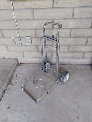 VINTAGE FOLDING SILVER METAL LUGGAGE CART ADJUSTABLE TROLLY DOLLY WORKS LIKE NEW AND IS COOL CAUSE ITS OLD! for Sale in Phoenix, AZ