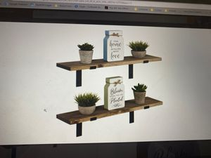 Set of 2 floating shelves wall mounted 24 x 5.5 in Special Walnut - Imperative rustic decor for Sale in Pembroke Park, FL