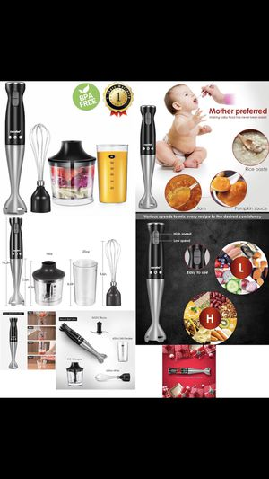 Electric Hand Immersion Blender, 4-in-1 Hand Mixer with 500ml Food Chopper, 600ml Beaker, Balloon Whisk, Stainless Steel Blending Shaft by Comfee for Sale in El Monte, CA