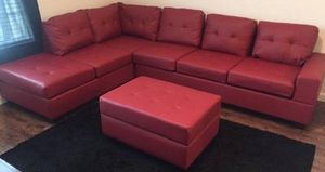 Brand New Red Faux Leather Sectional Sofa Couch + Storage Ottoman for Sale in Silver Spring, MD