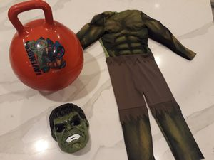 Marvel Avengers Hulk Size Small Costume (Age 4 - 6) , Mask & Bouncy Ball - take all for $7 total for Sale in Rancho Cucamonga, CA