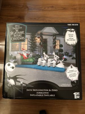 Jack Skellington and Zero Christmas Inflatable 11.5 for Sale in Alhambra, CA