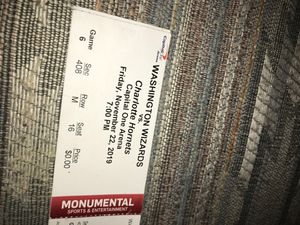 Washington Wizards vs Charlotte Hornets Capitol One Arena Friday November 22, 2019 game six section 408 row M seat16 for Sale in Washington, DC