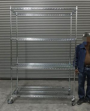 New in box 7.5 feet tall 24x60x90 inches tall 1000 lbs capacity heavy duty pantry garage storage shelf organizer rack with heavy duty locking wheels for Sale in Whittier, CA