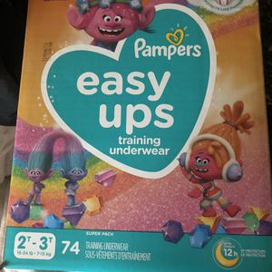 Pampers Easy Ups Size T2 - T3 74 Count Trolls for Sale in Irving, TX