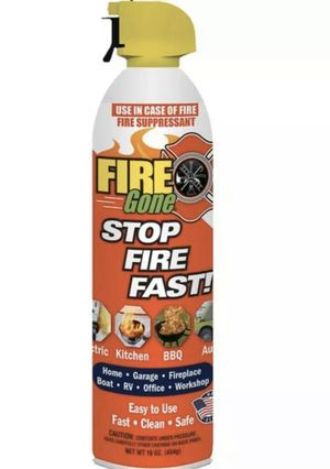 Fire gone Fire Suppressant Fire Portable RV Car Camp HOME 16oz Aerosol for Sale in Palos Heights, IL