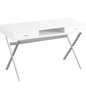 Sleek White and Silver Desk for Sale in Boston, MA