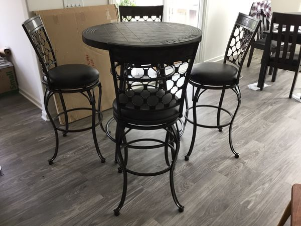 Bar Table and 4 Barcelona Swivel Chairs-New! for Sale in ...