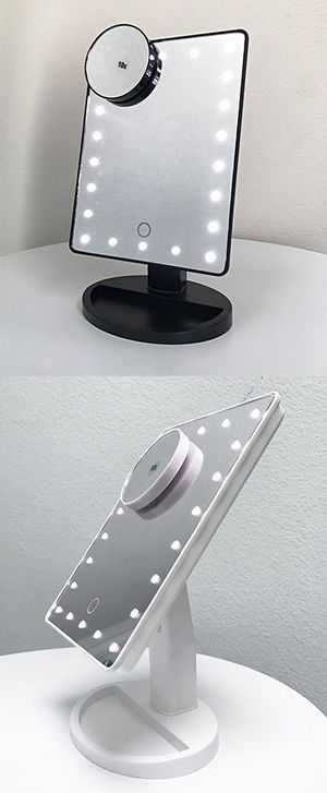 """$15 each New 11x6.5"""" LED Vanity Makeup Mirorr Touch Screen Dimming w/ 10x Magnifying (Black or White) for Sale in Montebello, CA"""