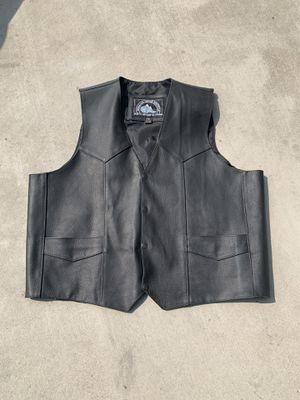 Leather biker vest black motorcycle for Sale in Hanford, CA