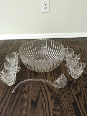 Glass Punch Bowl With Cups and Ladle for Sale in Moorestown, NJ