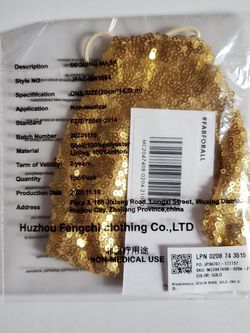 Just Fab Gold Sequins Mask for Sale in Hillsboro,  OR