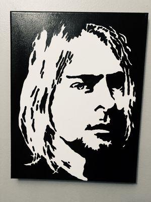 "KURT COBAIN Black & White 16""x20""Hand painting canvas for Sale in Pompano Beach, FL"