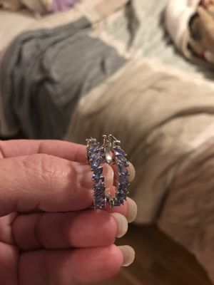 Genuine premium tanzanite inside outside hoops for Sale in Milford, MA