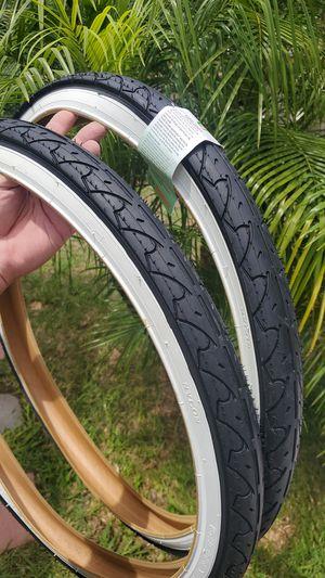 New white wall 26x1.95 slick beach cruiser mountain bike tires. for Sale in Long Beach, CA
