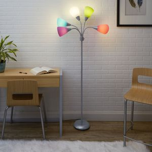 5-Light Multi Head Floor Lamp, Silver with Multi-color Shade (Shipping) for Sale in Meadows Place, TX