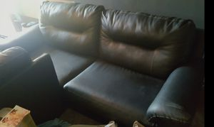Black leather couch and loveseat for Sale in Salina, KS