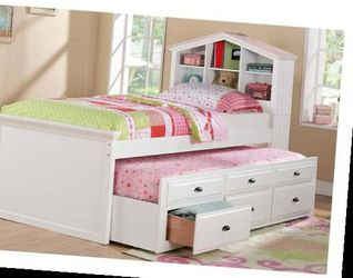 CLOSEOUTS LIQUIDATION SALE BRAND NEW TWIN SIZE BED FRAME WITH TRUNDLE AND DRAWERS ADD MATTRESS ALL NEW FURNITURE PDX9223 for Sale in Pomona,  CA