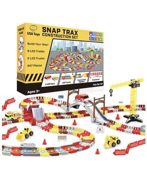 LED Race Tracks and LED Toy Trucks Construction Set - 247pk (New Never Opened) for Sale in Corona, CA