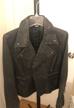 Donna Karan motorcycle leather jacket women's size large for Sale in San Diego, CA