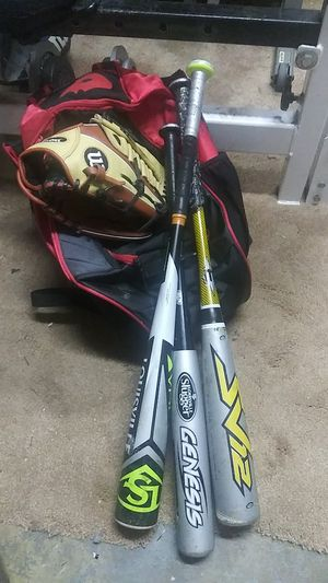 Baseball gear I bag 3 bats 1 glove for Sale in West Covina, CA