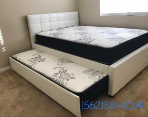 Full/twin white trundle bed w. Orthopedic mattresses included for Sale in Fresno, CA