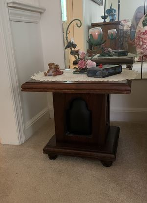 Two Dark Wood End Tables with leather inserts for Sale in Old Westbury, NY