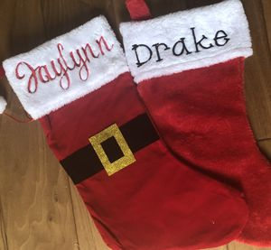 Embroidered Plush Red Christmas Stocking Stuffers for Sale in Grand Prairie, TX