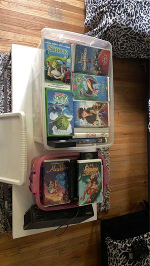 Disney VHS + VHS player for Sale in Wayne, MI