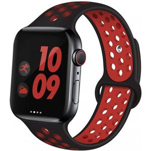 Breathable Sport Strap Wristband Replacement for Apple Watch Series 5 / 4 / 3 / 2 / 1 Sport - 44MM / 42MM - 40 MM / 38MM (Black Red) for Sale in Midland, TX