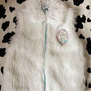 Disney White Elsa Frozen Soft Faux Fur Vest - Small for Sale in Monterey Park, CA