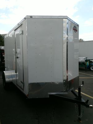 12' enclosed cargo trailer. SALE or RENT. 6' wide x 6' tall door opening. Single axle 2,990# GVWR. Ramp door + side door. Chrome package. LED lights. for Sale in Mission Viejo, CA