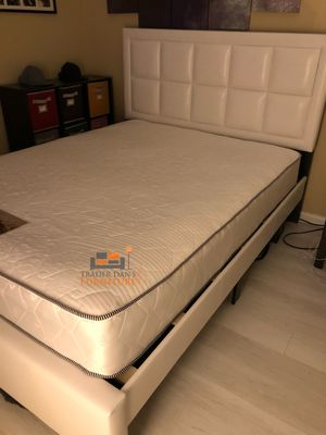 Brand New Queen Size Leather Platform Bed Frame + Mattress for Sale in Silver Spring, MD