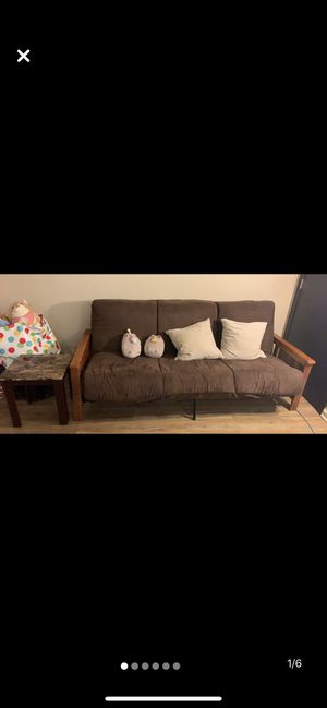 Brown convertible bed futon (sofa) (super soft) for Sale in Lansing, MI