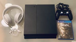 PlayStation 4 with accessories + PlayStation Gold Wireless Headset for Sale in Aventura, FL
