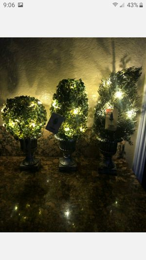 "BRAND NEW 18""DECORATIVE GREEN ARTIFICAL TOPIARY TREE PLANT IN PLASTIC POT 1O LED LIGHTS FIRM $12 EACH for Sale in Riverside, CA"