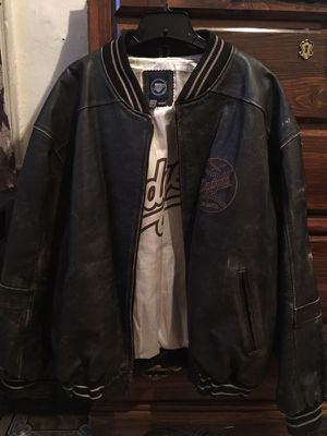 Old rugged leather baseball jacket size X Large for Sale in Bronx, NY
