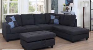 Couch sectional with ottoman. fabric black gray for Sale in Colma, CA