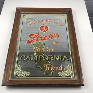 Strohs Beer California Friends Rare Mirror Sign 21x15@ for Sale in Los Angeles, CA